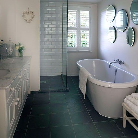 White Bathroom With Grey Slate Floor Decorating Ideal Home White Bathroom Grey Bathroom Floor Slate Bathroom