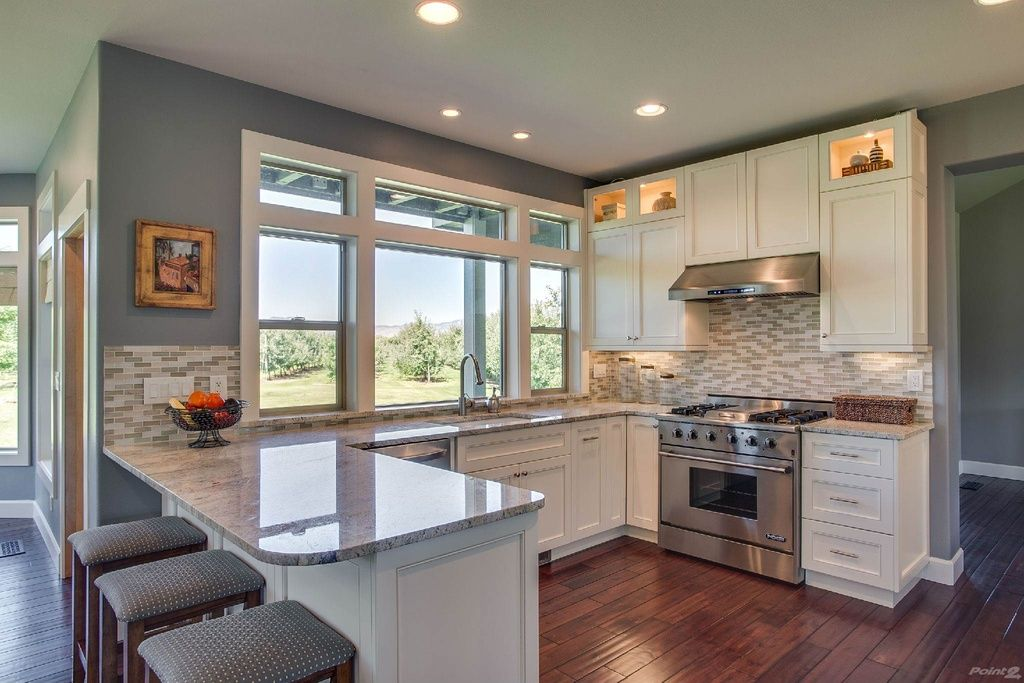 Transitional Kitchen With Flat Panel Cabinets Flush