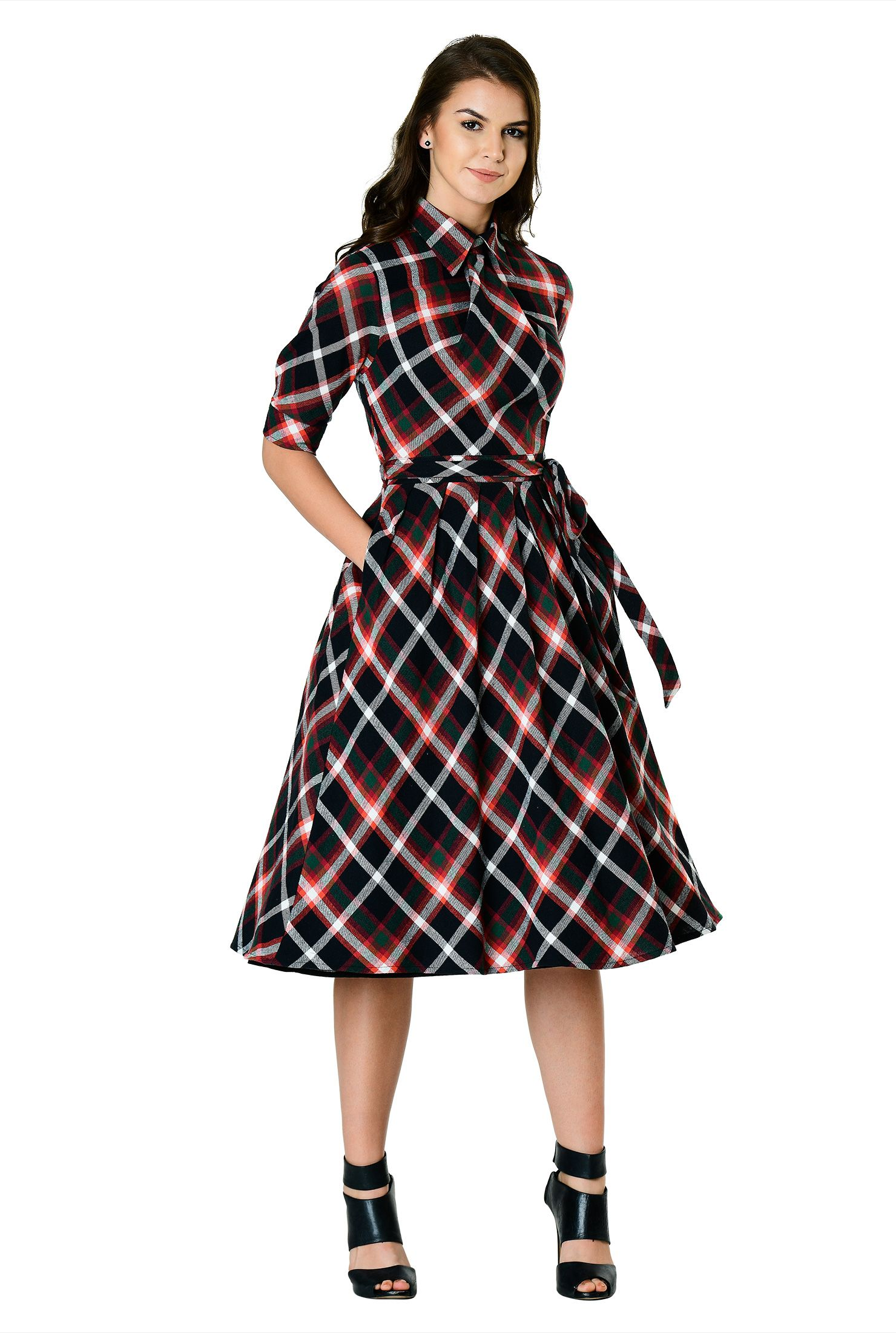 90a0816f4fb Our cotton twill check dress with a knot and angled pleats from the spread  collar is cinched with a removable self-sash tie belt above an inverse  pleat full ...