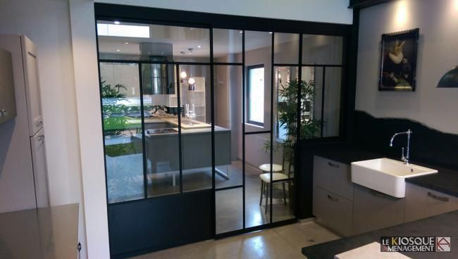 pingl par eric dufourny sur cloison verre type atelier pinterest verriere coulissante. Black Bedroom Furniture Sets. Home Design Ideas