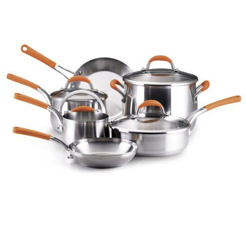 Rachael Ray Stainless Steel 10piece Cookware Set Orange To View