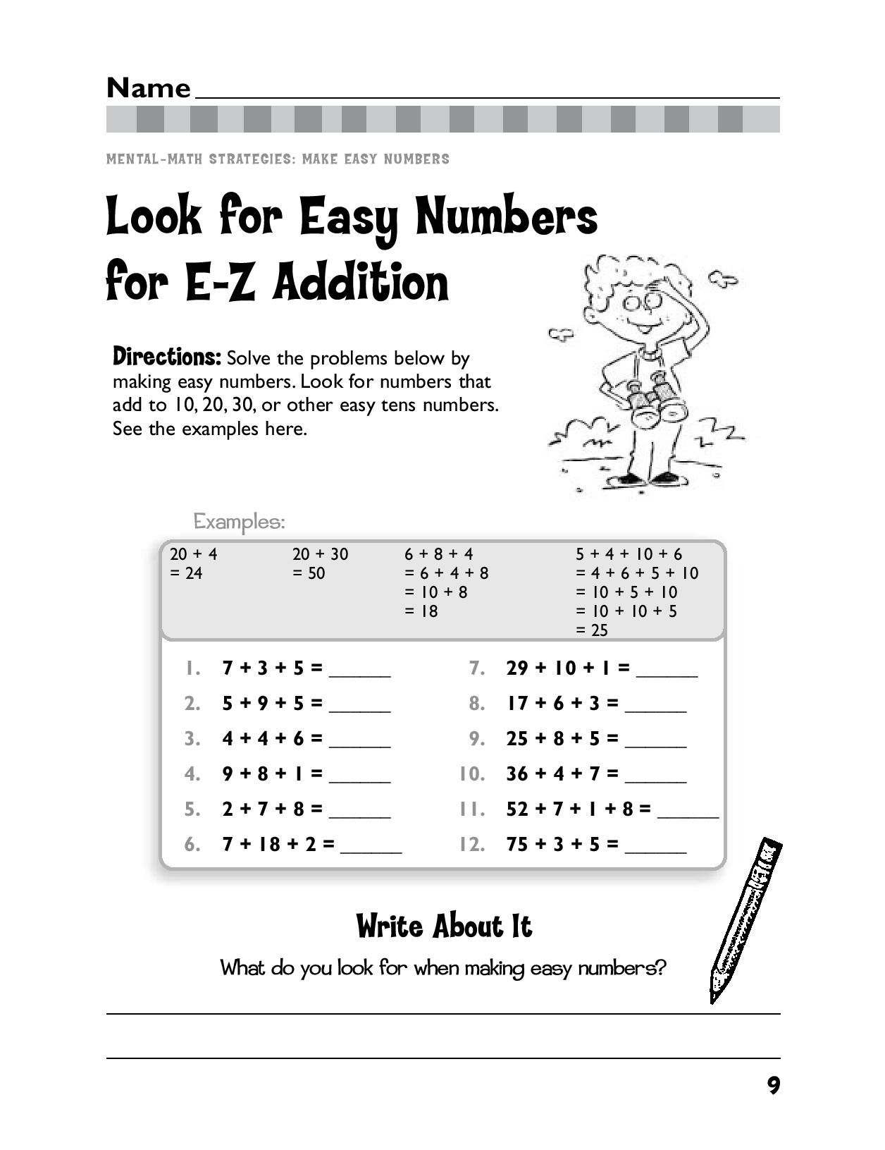 Teaching Your Child To Look For Easy Numbers Will Help Make Math Easy Ages 6 7 Math Worksheets Free Printable Math Worksheets Printable Math Worksheets