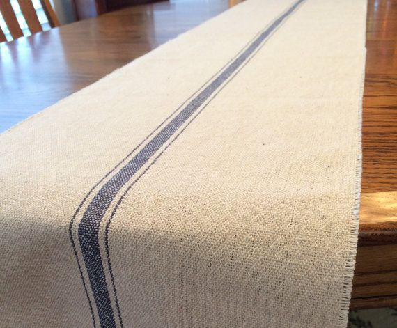 Farmhouse Grain Sack Table Runner French Kitchen Blue Stripe Ticking Woven  Textile Tablerunner Cloth Shabby Chic Cottage Decor Gift Feed Sack Fabric  By ...