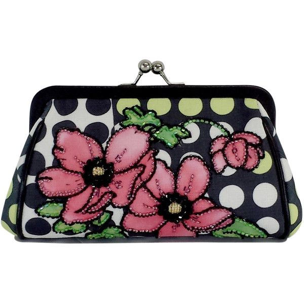 Pre-owned Isabella Fiore Polka Dot & Beaded Floral Clutch (710 NOK) ❤ liked on Polyvore featuring bags, handbags, clutches, floral clutches, floral handbags, isabella fiore purse, floral purse and strap purse