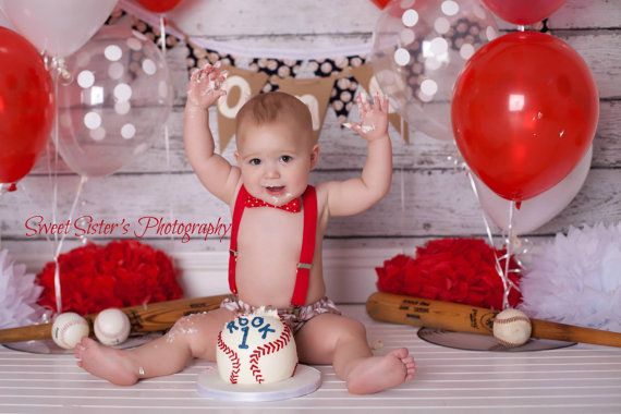 Baseball First Birthday Outfit Cake Smash Diaper Cover Suspenders And Bow Tie Ba