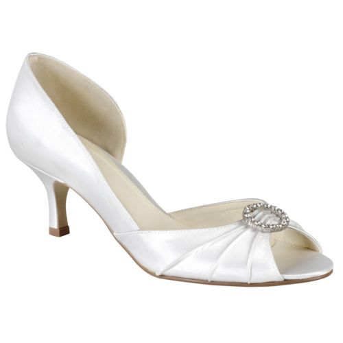 Ivory Silk Peep toe court shoes with diamante brooch VQ9jyt