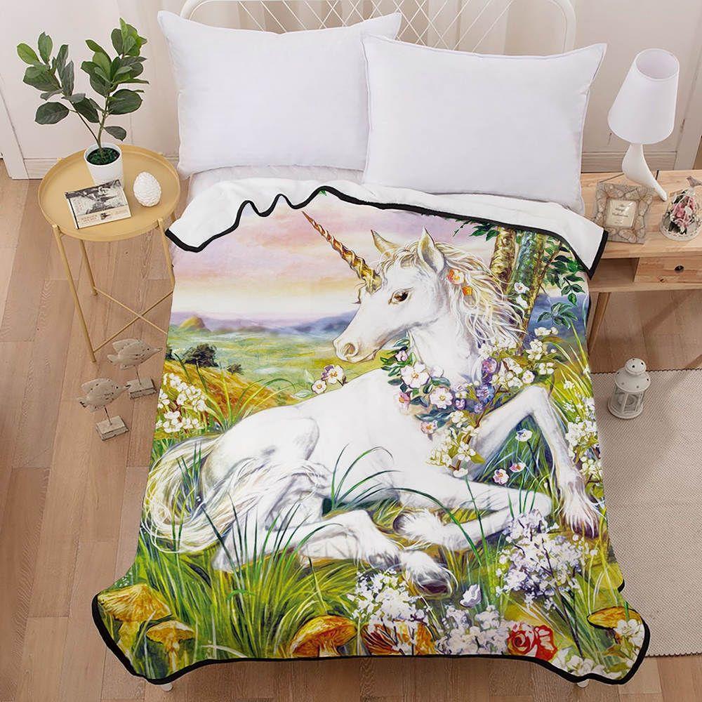 2020 的 unicorn printed blanket for girl cartoon fanstay