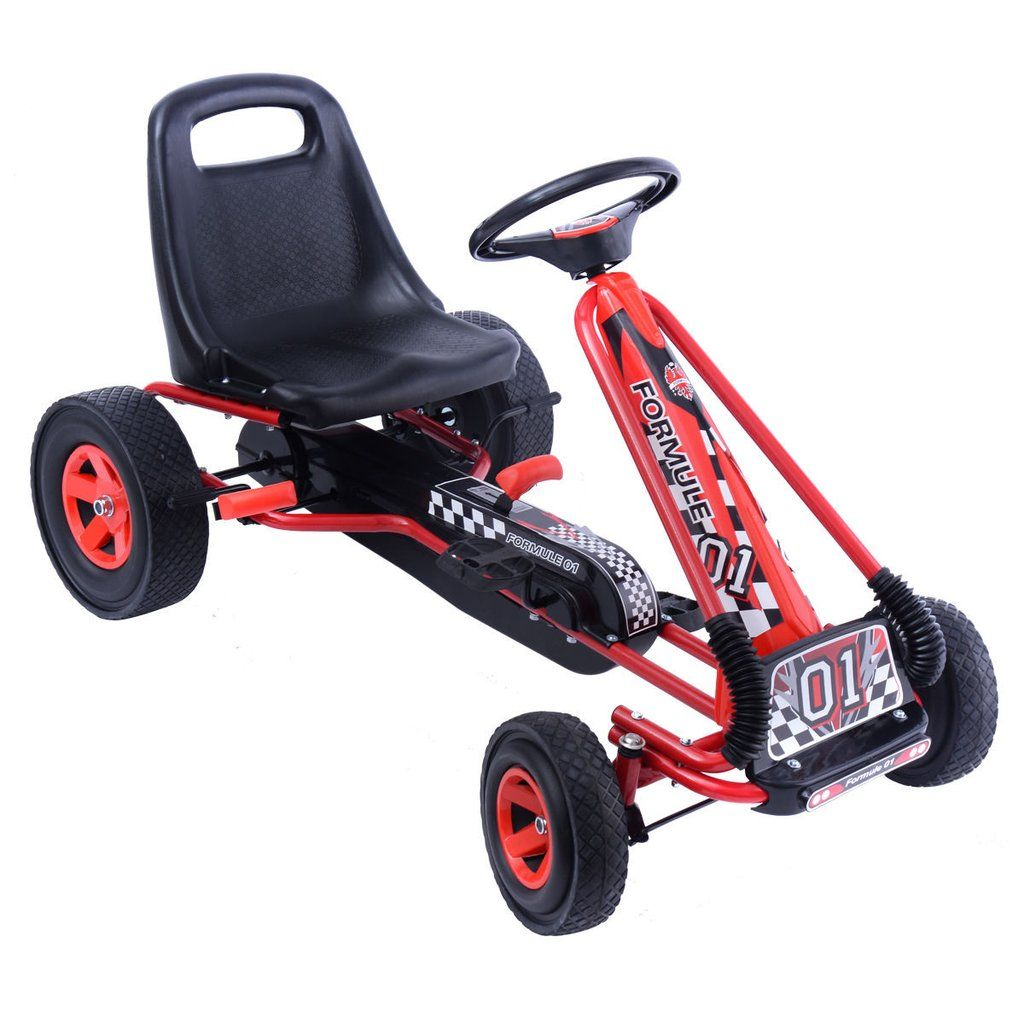 Costway 4 Wheels Kids Ride On Pedal Powered Bike Go Kart Racer Car Outdoor Play Toy Kids Ride On Car Wheels Go Kart Racer