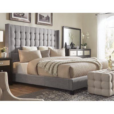 Rosdorf Park Luxullian Button Tufted Upholstered Wingback Headboard Color: Gray, Size: Queen