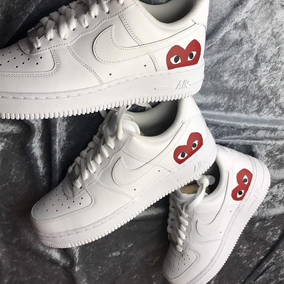 Custom NIKE, Air Force 1 CDG Play, Comme Des Garcons Shoes