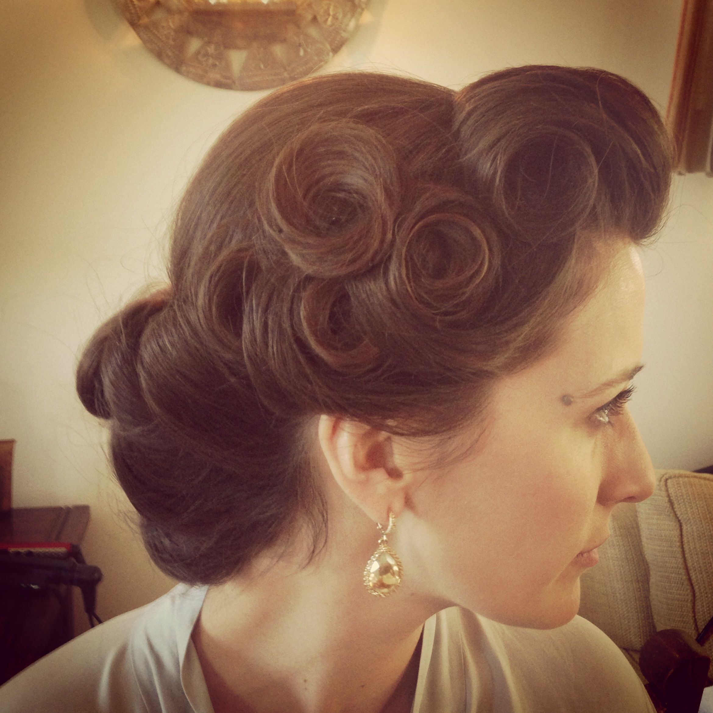 Pin curls vintage hairstyle up do wedding occasion hair curls