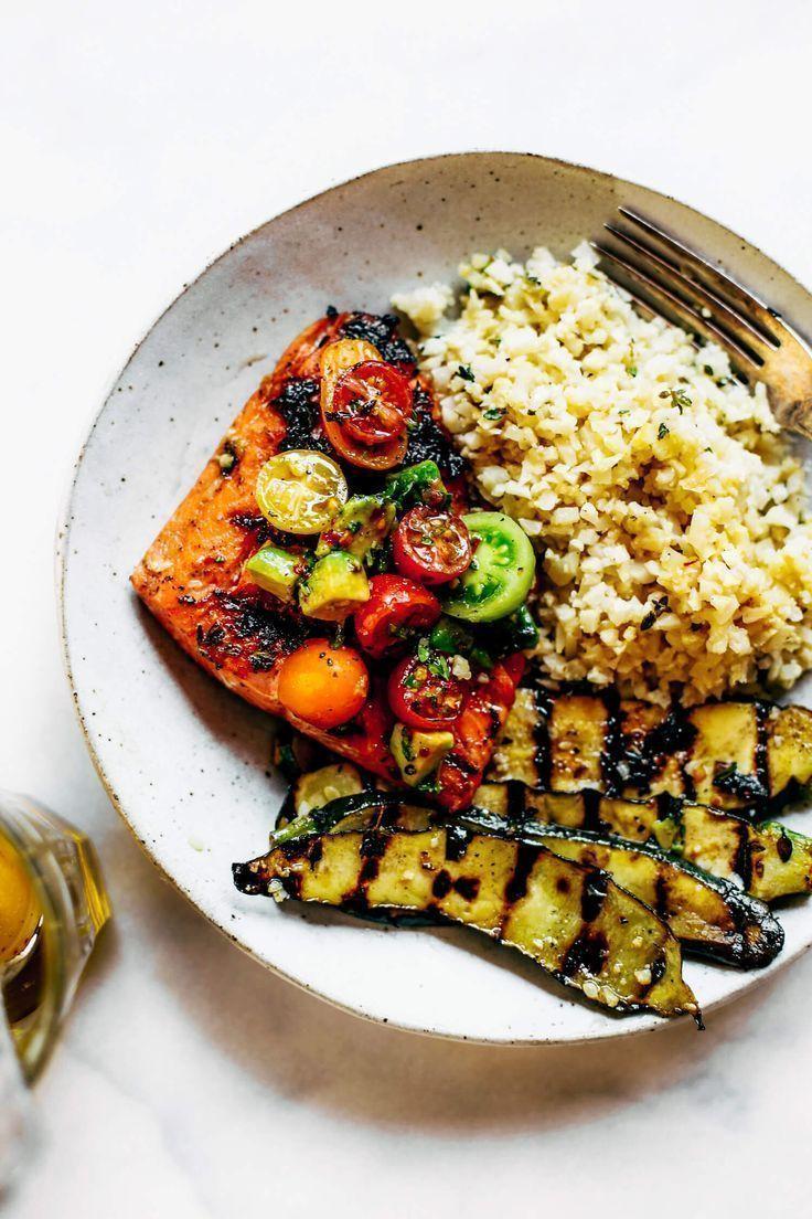Lemon Thyme Grilled Salmon Cauliflower Rice