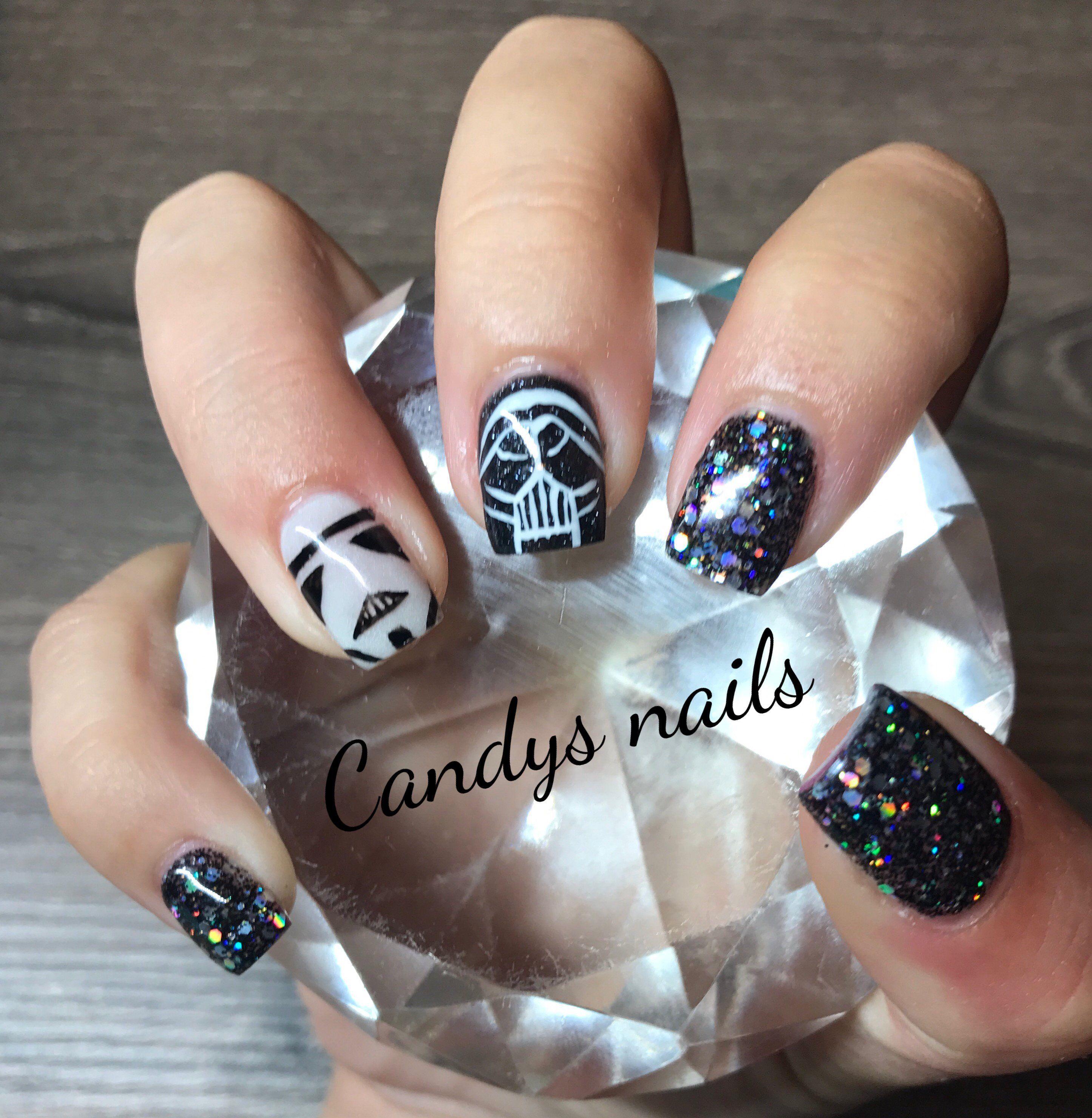Black Glitter Star Wars Acrylic Nails Nails Acrylic Nails All Things Beauty