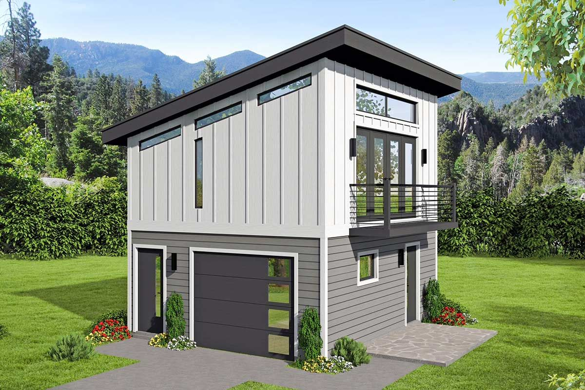 Plan 68557VR: Versatile Modern Carriage House Plan