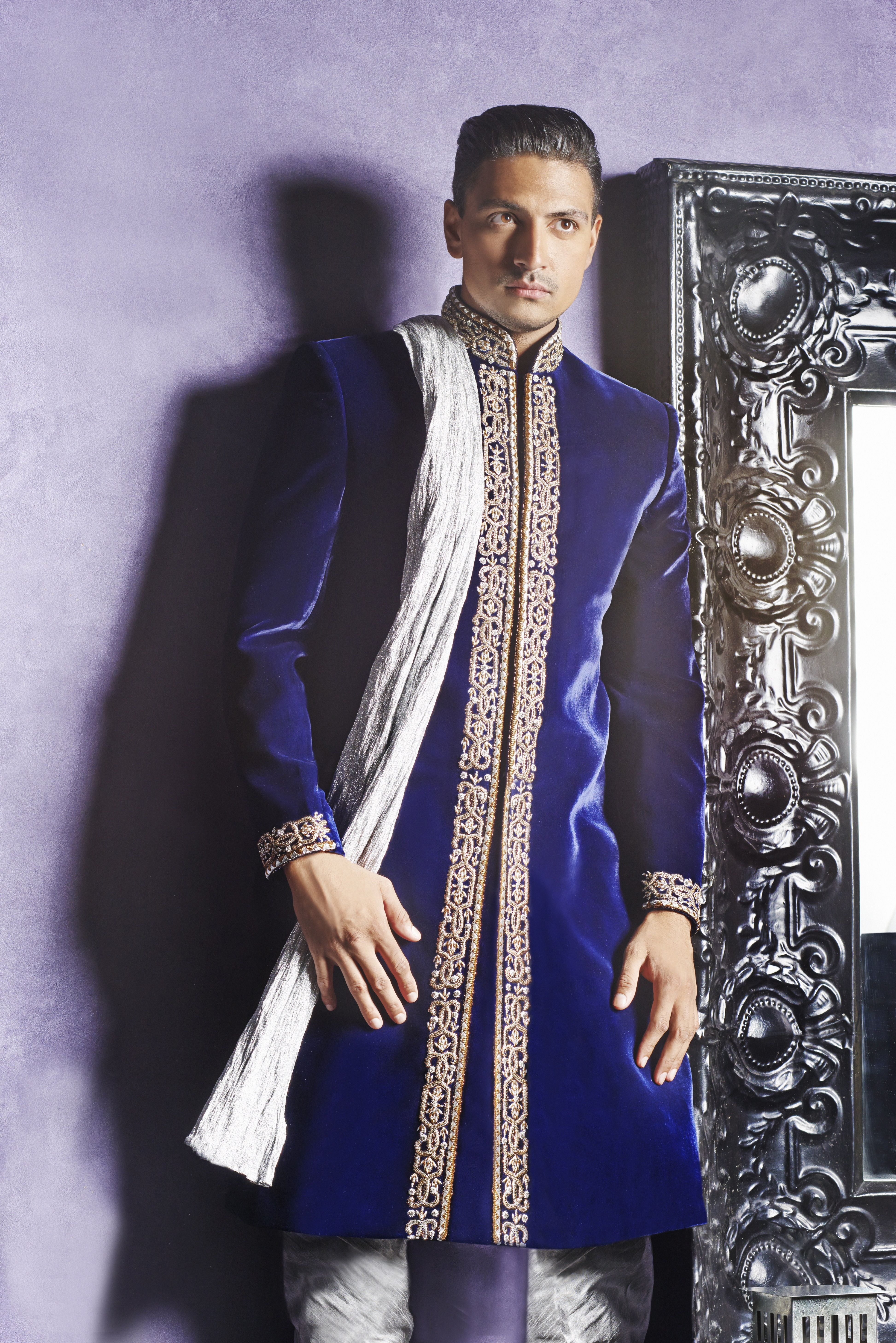 MC01 - traditional Asian sherwani in royal blue velvet with silver ...