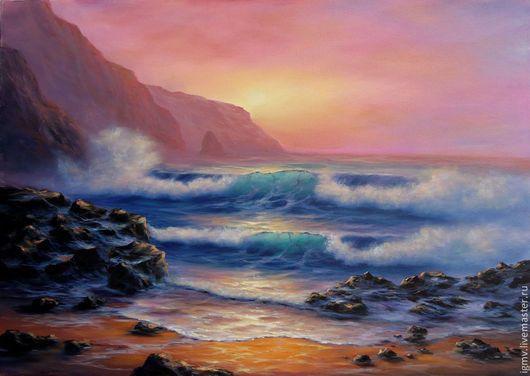 """Пейзаж ручной работы. Ярмарка Мастеров - ручная работа. Купить Картина маслом морской пейзаж """"Тревожный закат"""". Handmade. скалы"""