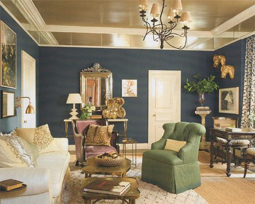 Steel Navy Walls And Gold Leaf Ceiling Ceiling Design Classy