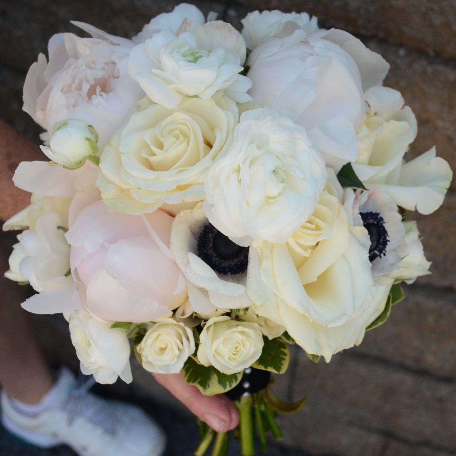 Cream Garden Rose bridal bouquet. double blush/white peonies, white ranunculus