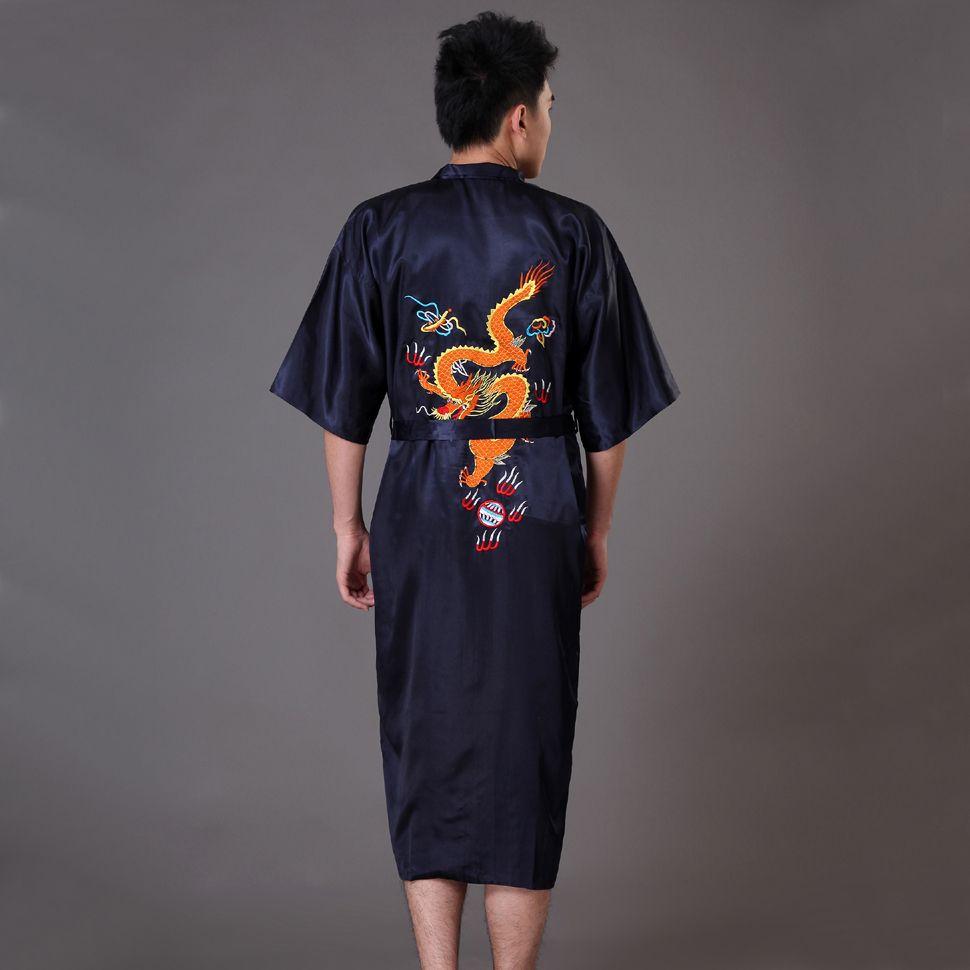 3b54031f80 Hot New Black Men s Silk Satin Kimono Bath Robe Gown Chinese Style Handmade Embroidery  Dragon Sleepwear