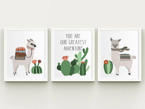 Cactus Art PRINTABLE Boho Nursery Wall Art Set of 3 Nursery Cactus Printable Art Cactus Nursery Decor Downloads Baby Girl Nursery
