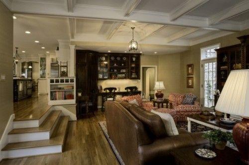 Steps Down Into The Family Room Sunken Living Room Family Room Addition Family Room