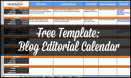 Blog Editorial Calendar Template From Hubspot Editorial Calendar - Blog content calendar template