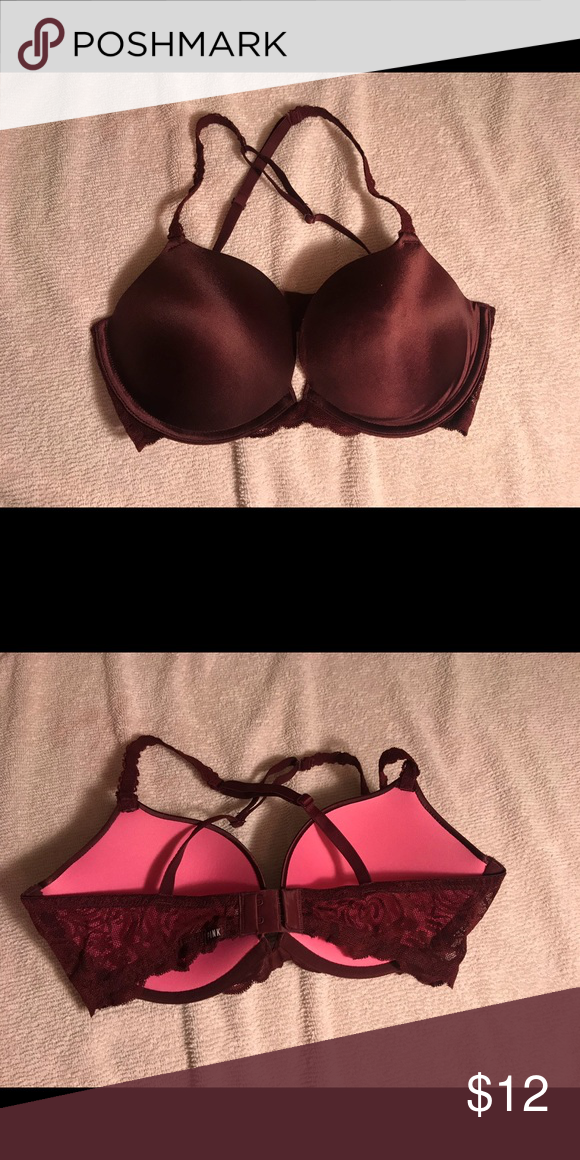 72a684fd4b PINK VS bra Size 34D Burgundy with Lace VS PINK bra worn only a few times  well taken care of PINK Victoria s Secret Intimates   Sleepwear Bras