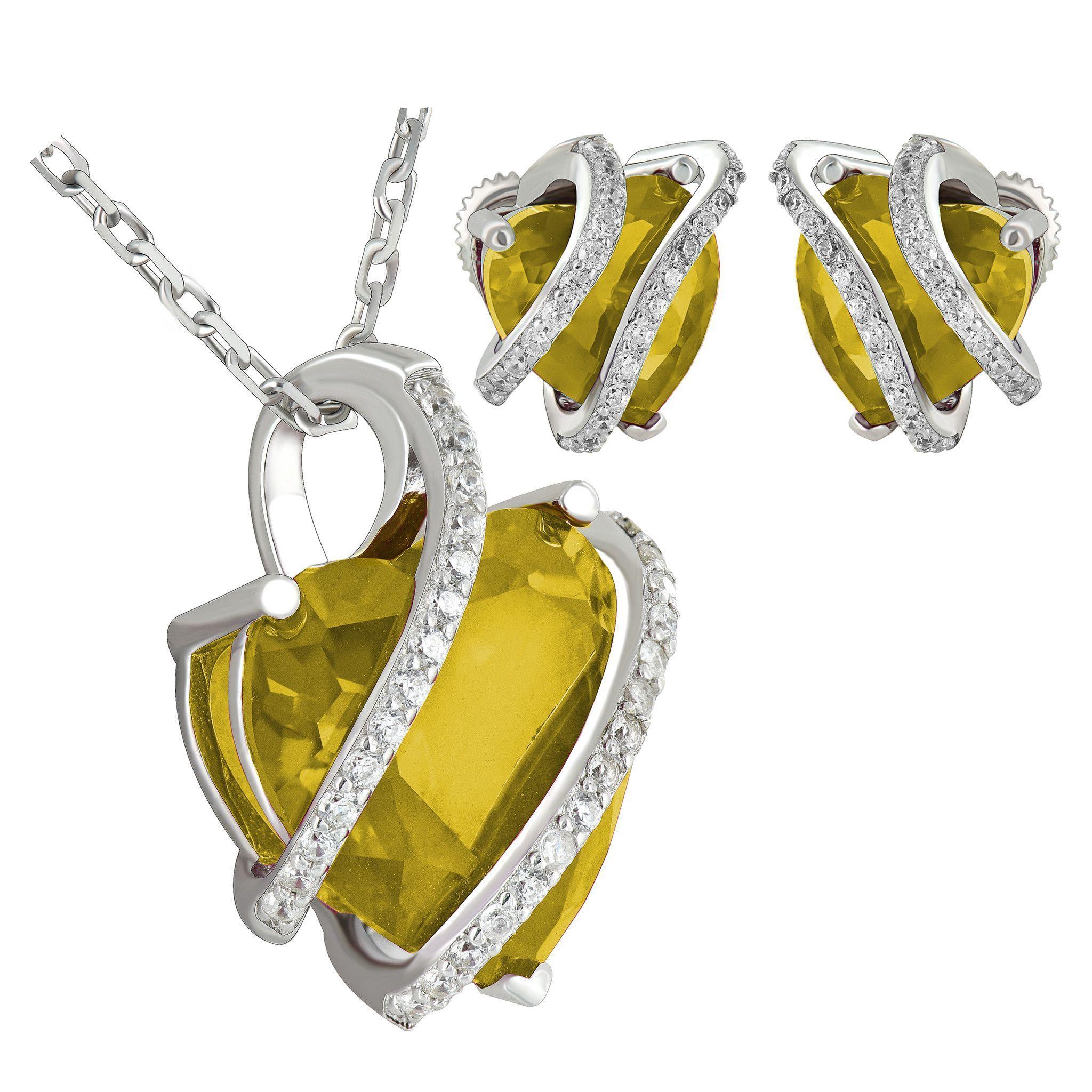 November birthstone womens topaz solitarie heart sterling silver