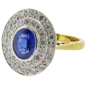 Art Deco style Sapphire and Diamond Tiered Cluster Ring