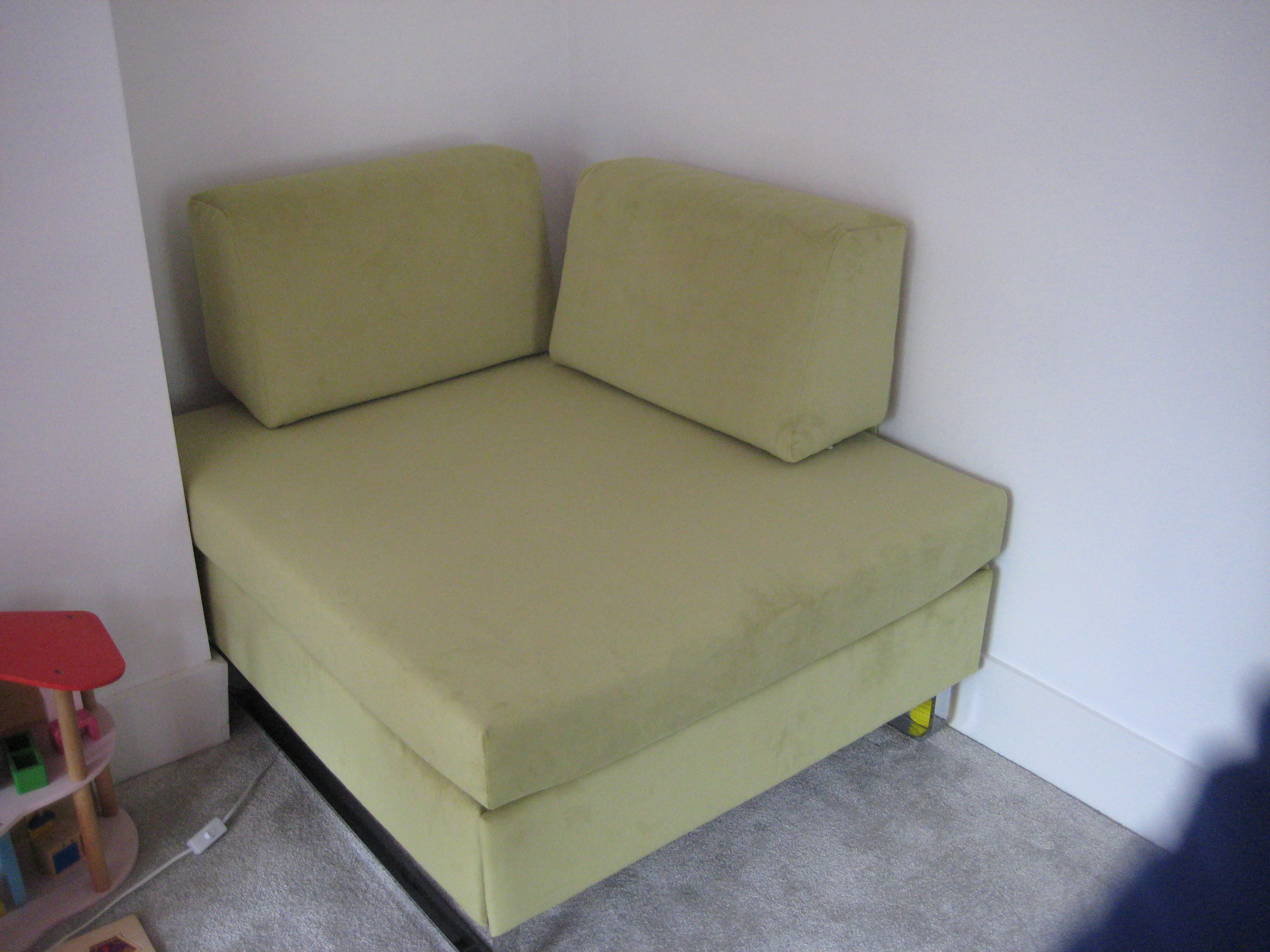 Hocker arm chair / single luxury sofa bed in Linwood Moleskin velvet -  chiff chaff.