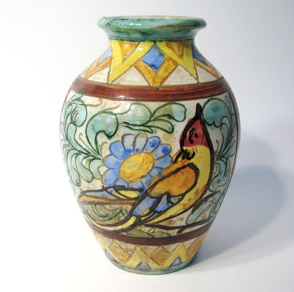 Vintage Italian Ceramic Hand Painted Vase Made In Italy Hand