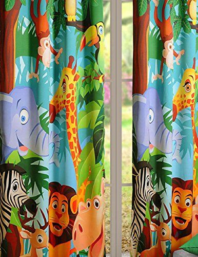 Owls Jungle Animals Wooden Bedroom Furniture Kids: Set Of 2 Curtain Panels For A