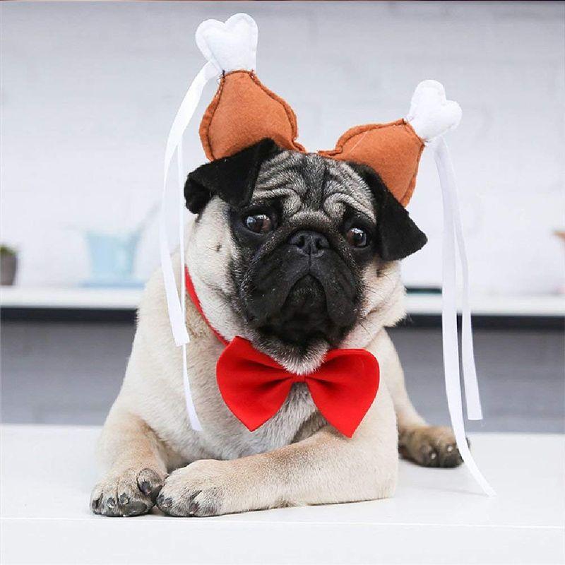 Funny Cute Pet Cat Dog Head Cap Hat Headband Chicken Leg