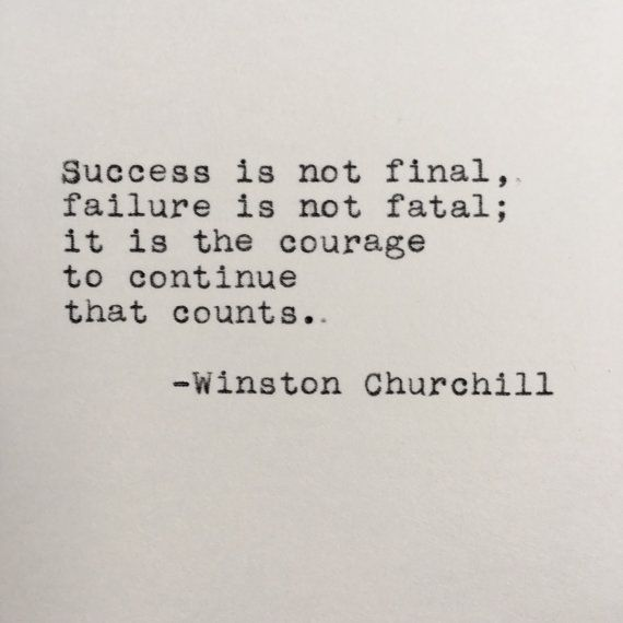 Winston Churchill Success Quote Typed on Typewriter