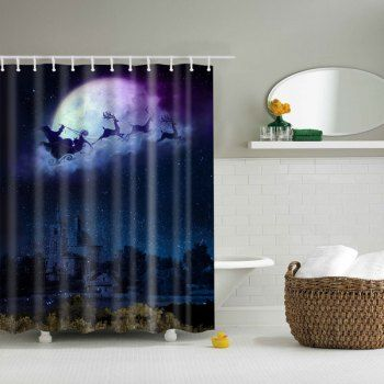 bathroom decor waterproof christmas eve printed shower curtain