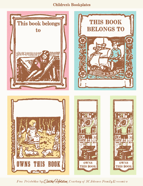 Vintage children 39 s bookplates free printable beautiful for Free printable bookplates templates