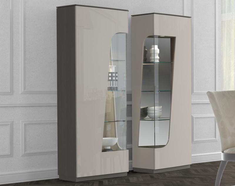 Contemporary Valentino Display Cabinet In Ivory High Gloss With Smooth Chocolate Oak Veneer 2
