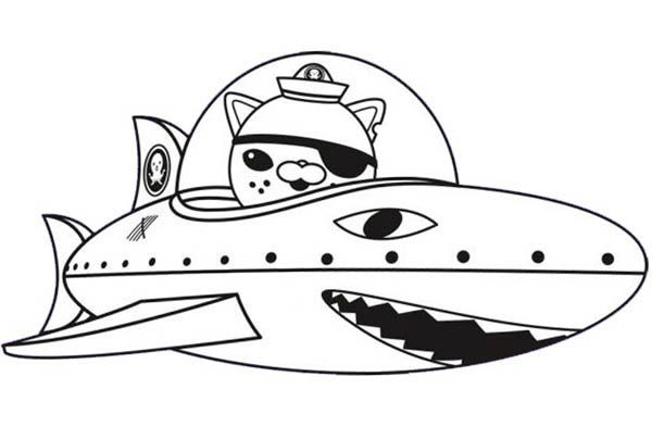 Octonauts kwazii and shark submarine in the octonauts for Octonauts color pages