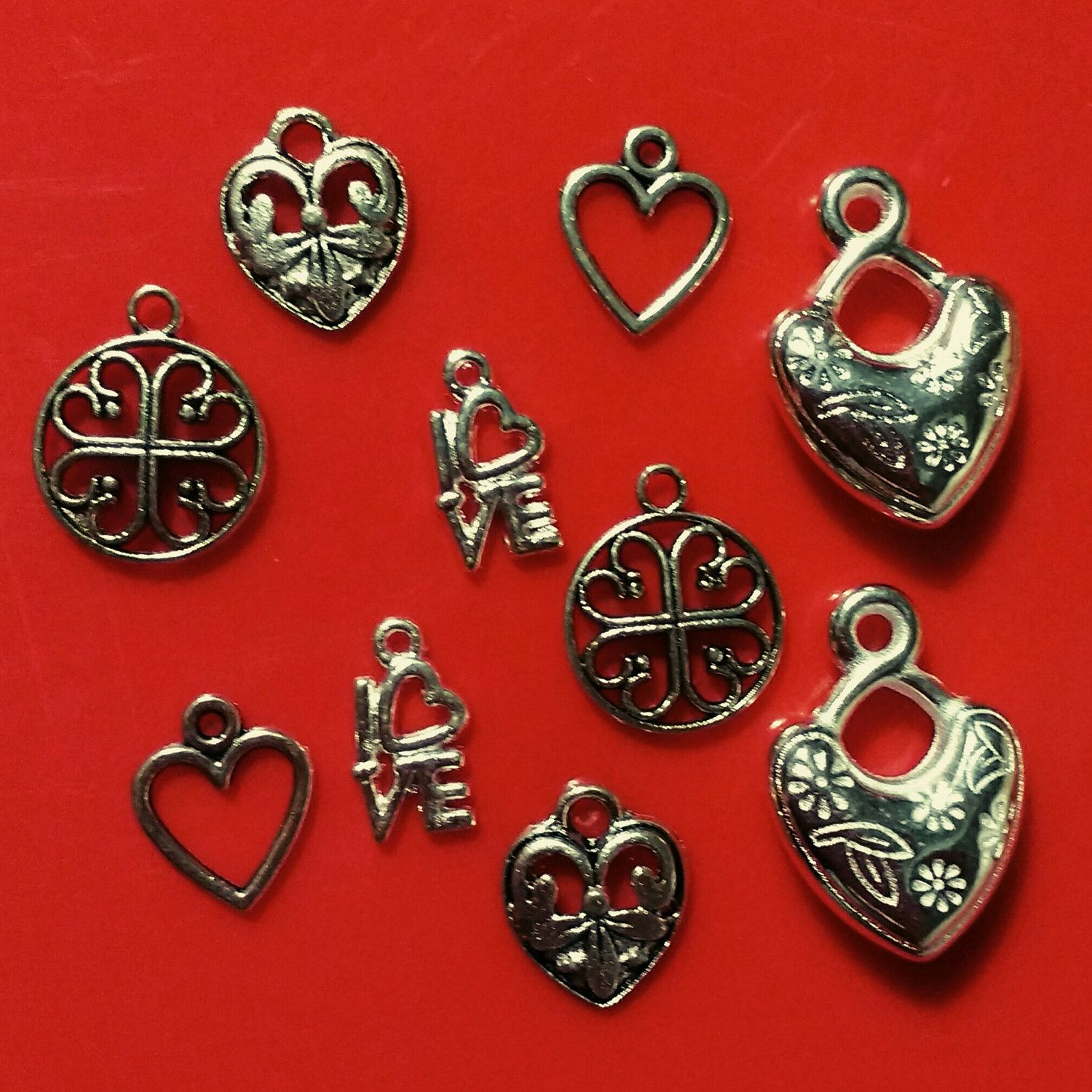 10x silver heart charms pendants mixed plated findings friendship 10x silver heart charms pendants mixed plated findings friendship jewellery making diy jewelry earring bracelet necklace lucky craft uk aloadofball Image collections