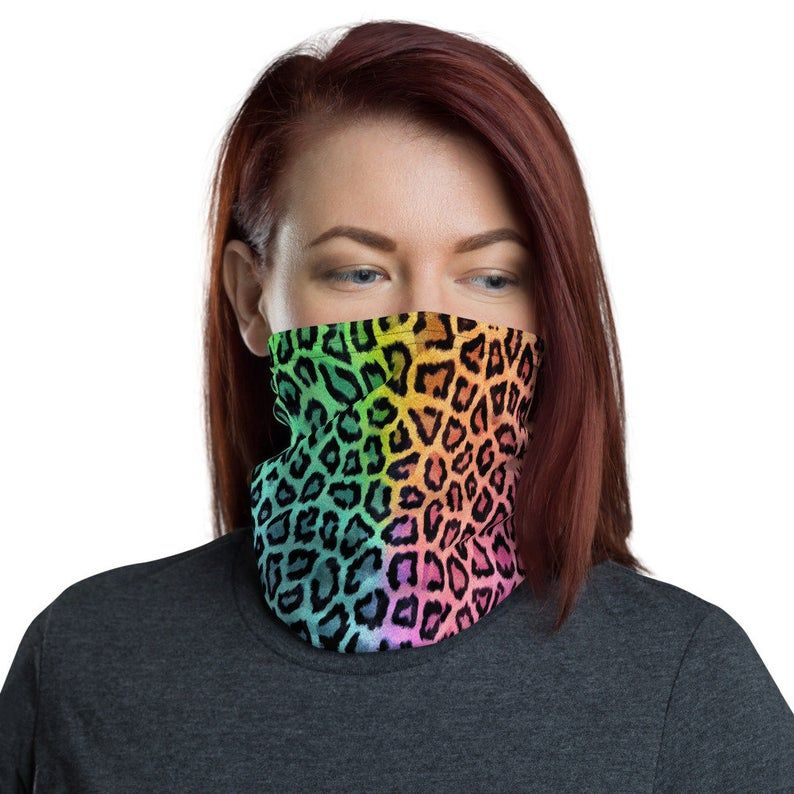 Rainbow Leopard Face Mask / Colorful Pastel Print