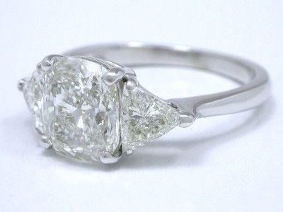 Cushion Cut Diamond Ring with Trillion Side stones