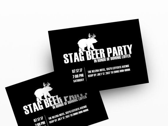 Stag Invitations Digital Printable Invitation Template For Your - Bachelor party invitation template