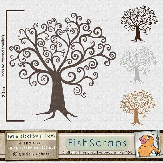 Pictures For Guests Fingerprints And Wishes: Tree ClipArt, DIY Family Tree Clip Art, Whimsical Wish