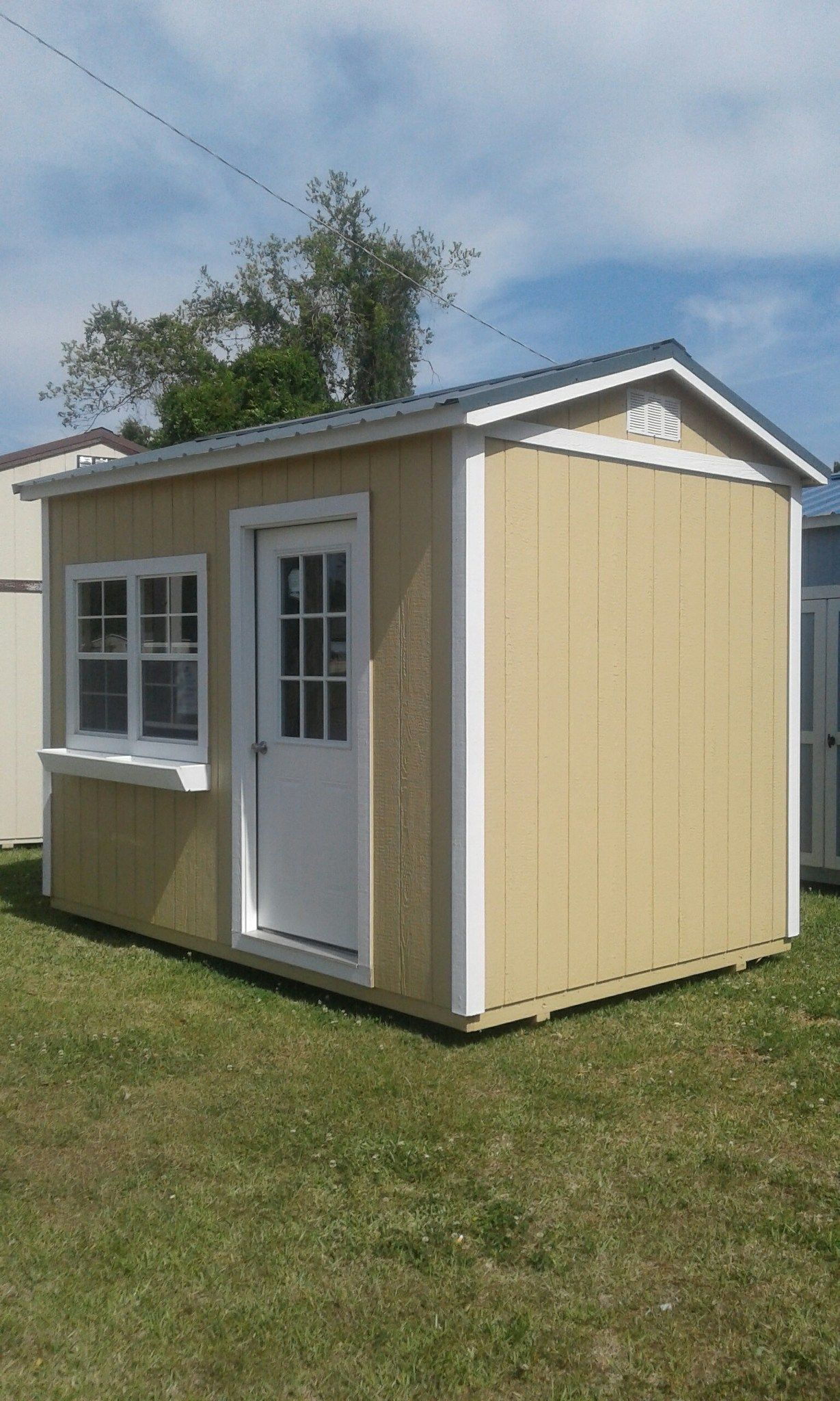 Side Garden Shed 8x12 From Coastal Portable Buildings With Standard Walk In Door 2 Windows And Fl Portable Buildings Outdoor Storage Solutions Outdoor Storage
