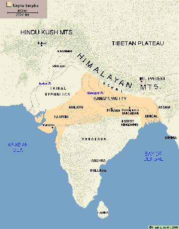 The Gupta Empire ruled the Ganges River Valley | Maps of Indian ...