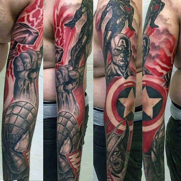 60 marvel tattoos for men superhero comic design ideas tattoos 3 pinterest tattoo. Black Bedroom Furniture Sets. Home Design Ideas