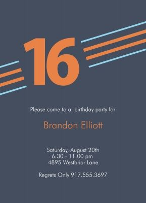 Birthday Party Invitation Teen Boy Simple Graphic
