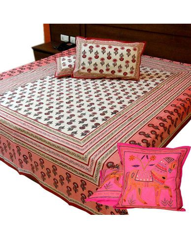 Color: Off-White and Pink Fabric: 100 % Export Quality pre-shrunk cotton fabric of thread count 120 per square inch. Thus, 60 no. of threads each are used in warp and weft. Total no. of threads is 120 per square inch per square inch of fabric. Fabric GSM: 130 Bed Sheet Size : 90 x 108 inches (7.5 X 9.0 feet)  Pillow Size : 18 x 26 inches.