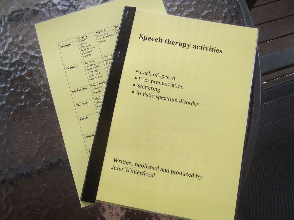 speech therapy activities, lack of, poor pronunciation, Autism  A4 copy