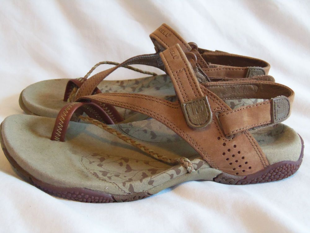 d8d8c645f4d8 Merrell Sandals Size 5 Medium Siena Light Brown Leather strappy velcro  Comfort  Merrell  SportSandals  Casual